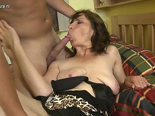 Hairy mom fucking her son's best..