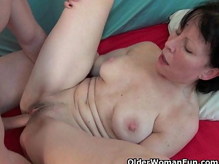 Grandma loves a warm cum load on her old..